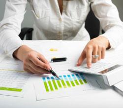 sitting down analyzing business data